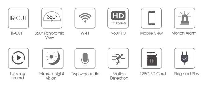 Панорамная WiFi видеокамера Артикул: DE-WSC1135VR1466_960P